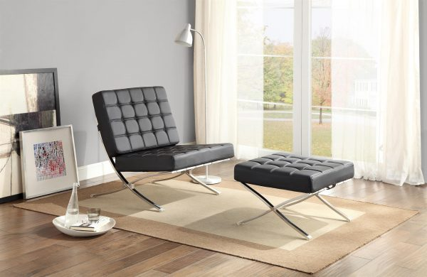 Barcelona Chair and Ottoman Black Leather