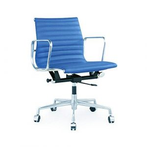 Charles Eames Office Chair Low Back - Blue Leather TY-202B