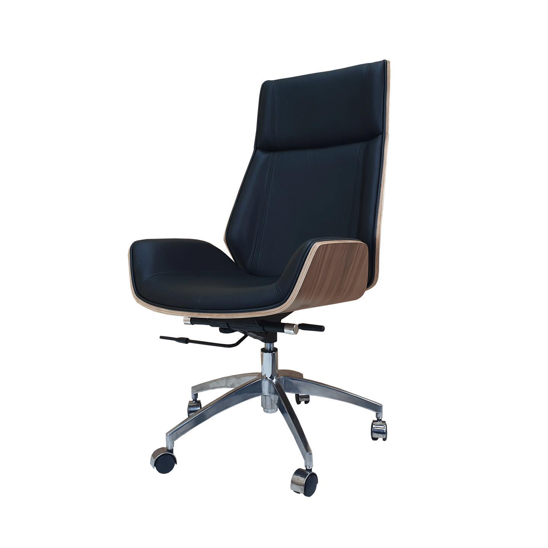 Designer High Back Office Chair Walnut Wood Black Leather Charles Eames
