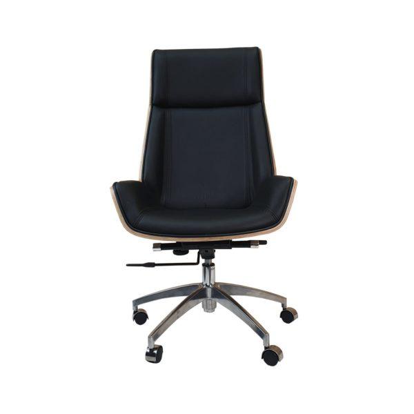 Designer High Back Office Chair Walnut wood - Black Leather